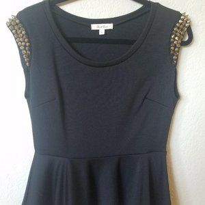 Black Studded Peplum Top - New without tags